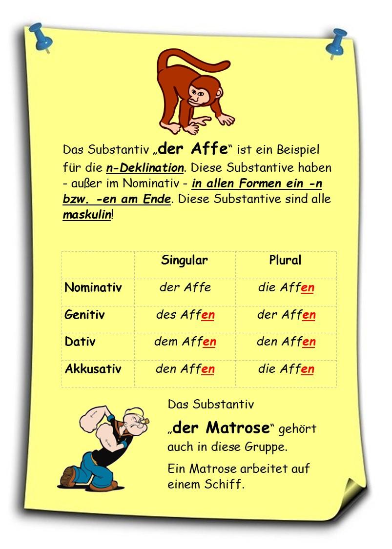 Adjektivdeklination Deutsch A1 A2 Erklarungen